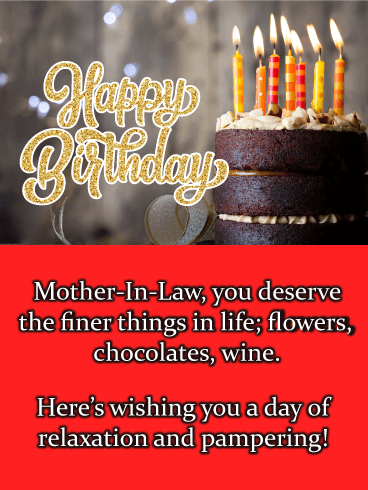Chocolate Cake - Happy Birthday Card for Mother-In-Law