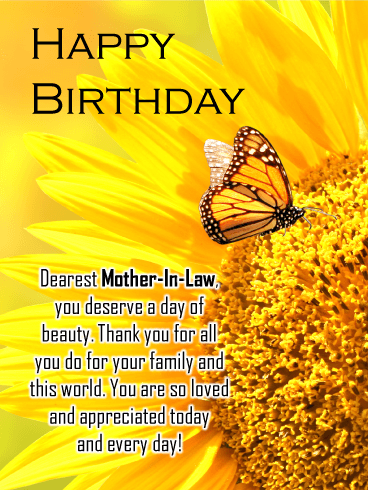 Butterfly & Flower - Happy Birthday Card for Mother-In-Law