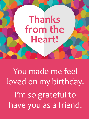 Colorful Hearts Thank You Card for Birthday Wishes