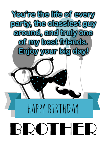 Prime Life Of The Party Happy Birthday Wish Card For Brother Funny Birthday Cards Online Alyptdamsfinfo