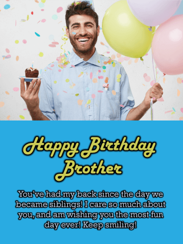 Smiley Guy - Happy Birthday Wish Card for Brother