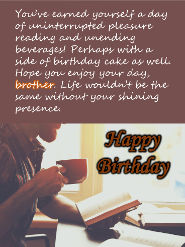 Man Reading - Happy Birthday Wishes Card for Brother
