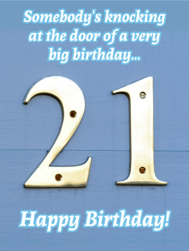 Knocking at the Door - Happy 21st Birthday Card