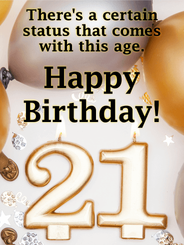Gold & Silver Balloon Happy 21st Birthday Card