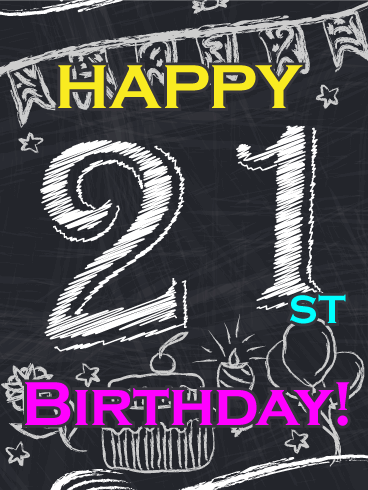 Chalkboard Design Happy 21st Birthday Card