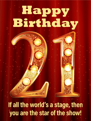 Golden 21- Happy 21st Birthday Card