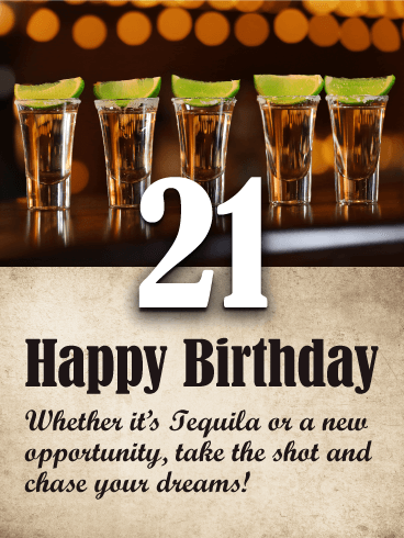 Tequila Shots - Happy 21st Birthday Card