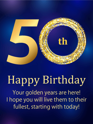 The Golden Number Happy 50th Birthday Card Birthday Greeting