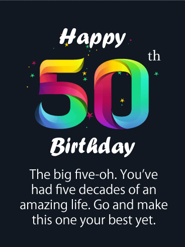 The Big Five-Oh - Happy 50th Birthday Card