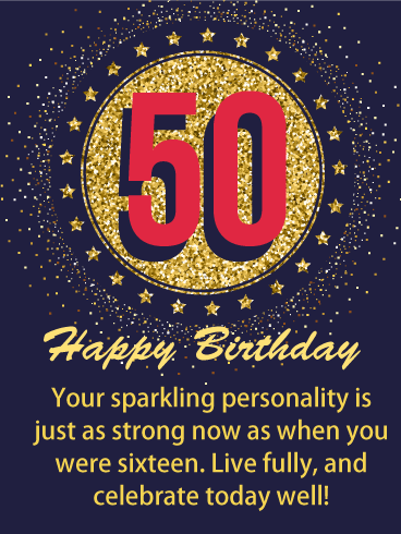 Glittering Memory - Happy 50th Birthday Card