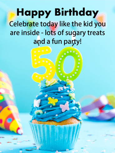 Lots of Sugary Treats - Happy 50th Birthday Card