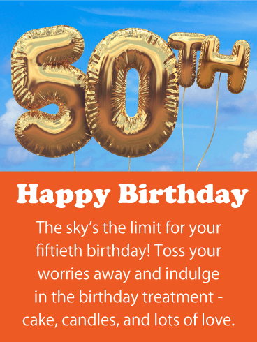 Toss Your Worries Away - Happy 50th Birthday Card