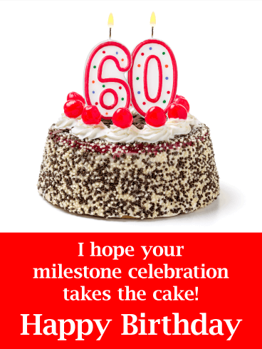 Marvelous Happy 60Th Birthday Cake With Candle Card Birthday Greeting Personalised Birthday Cards Epsylily Jamesorg