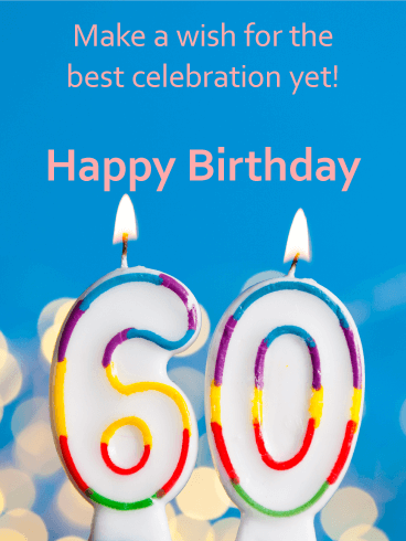Happy 60th Birthday Celebration Candle Card Birthday Greeting