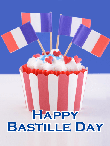 French Flag Cupcakes - Happy Bastille Day Card