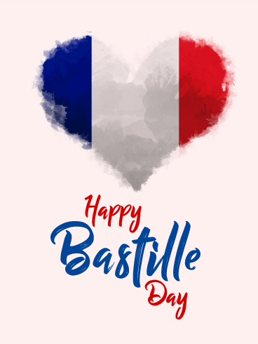 Heart Flag - Happy Bastille Day Card