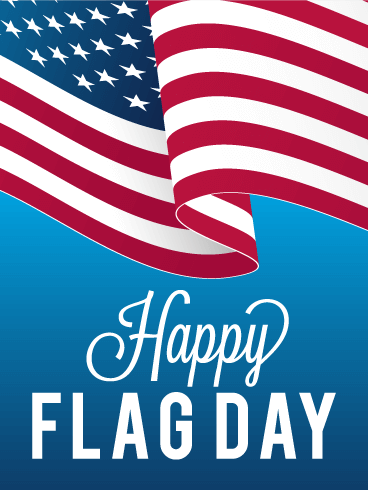 Blue Happy Flag Day Card