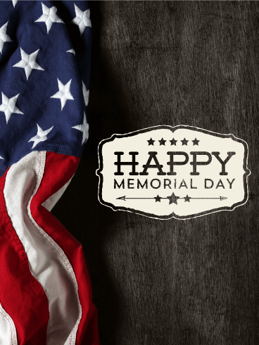 Wooden Designed Happy Memorial Day Card