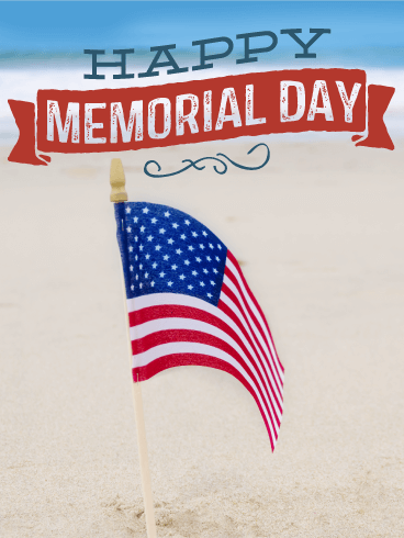 Flag on the Beach - Happy Memorial Day Card