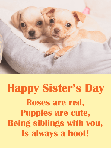 Cute Puppies - Happy Sister's Day Card
