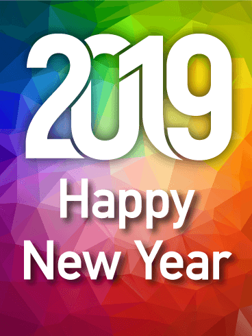 Colorful Rainbow Happy New Year Card 2019