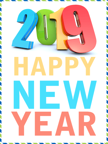 Vivid Color Happy New Year Card 2019