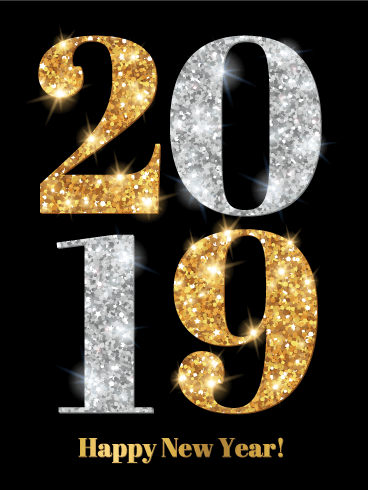 Shiny Gold & Silver Happy New Year Card 2019