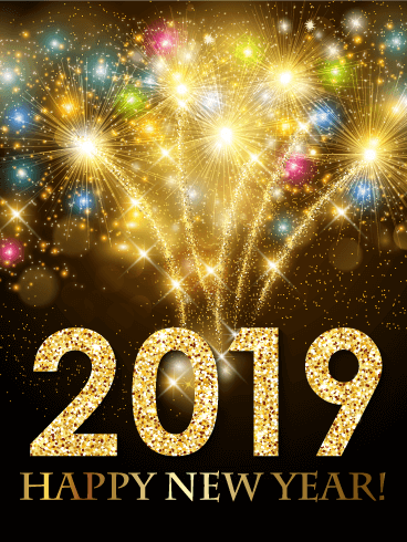 Colorful New Year Fireworks Card 2019