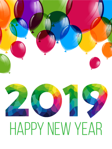 Colorful New Year Balloon Card 2019
