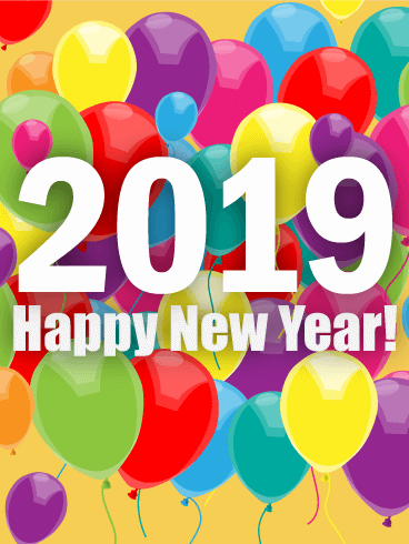 Rainbow New Year Balloon Card 2019