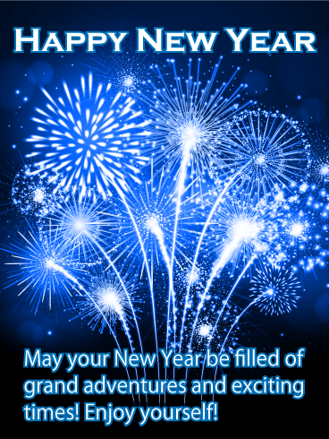 Big Blue New Year Fireworks Card