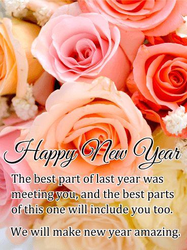 rose new year wishes card