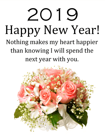 Pink Rose New Year Wishes Card