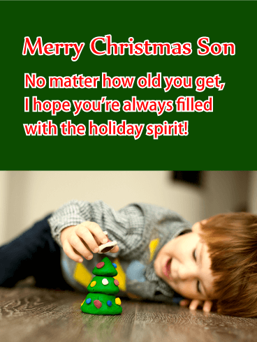 Holiday Spirit! Merry Christmas Card for Son