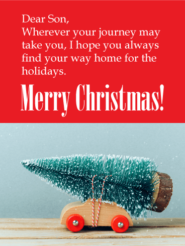 Home for the Holidays - Merry Christmas Card for Son
