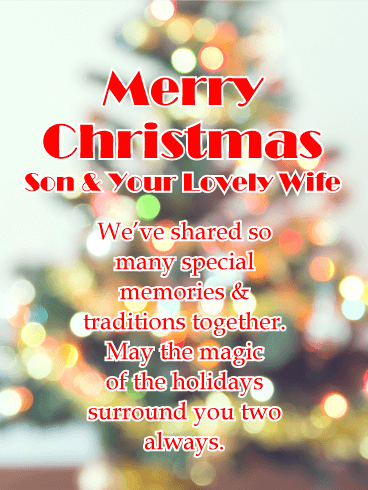 Cherishes Memories - Merry Christmas Card for Son & His Wife