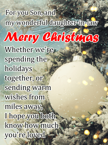 You're Loved - Merry Christmas Card for Son & His Wife