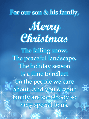 Blue Snowflake - Merry Christmas Card for Son & His Family