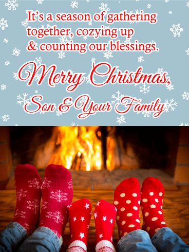 Season of Gathering - Merry Christmas Card for Son & His Family