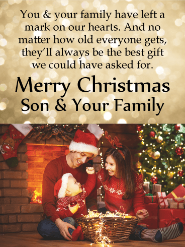 sweet moment merry christmas card for son his family - How Old Is Christmas