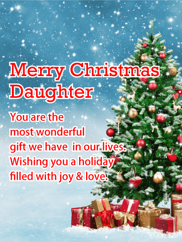 Joy & Love - Merry Christmas Card for Daughter