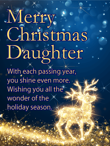 You Shine Even More - Merry Christmas Card for Daughter