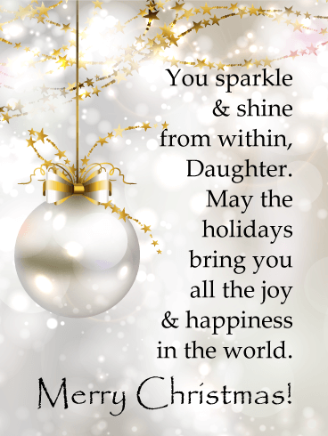 You Sparkle - Merry Christmas Card for Daughter
