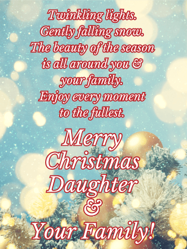 Free P+P Christmas Card To a Special Daughter