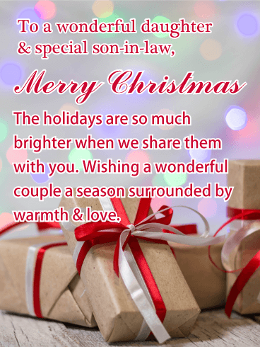 Warmth & Love - Merry Christmas Card for Daughter & Son-in-Law