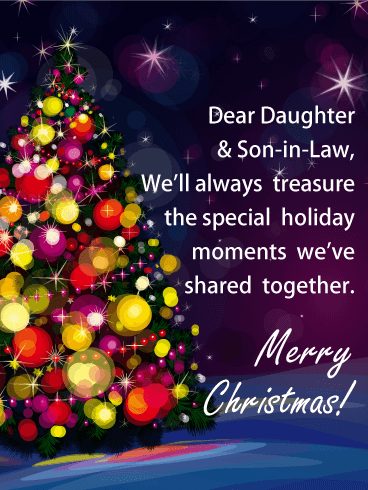 Shining Tree - Merry Christmas Card for Daughter & Son-in-Law