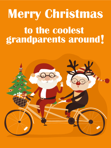 Tandem Bicycle Merry Christmas Card for Cool Grandparents