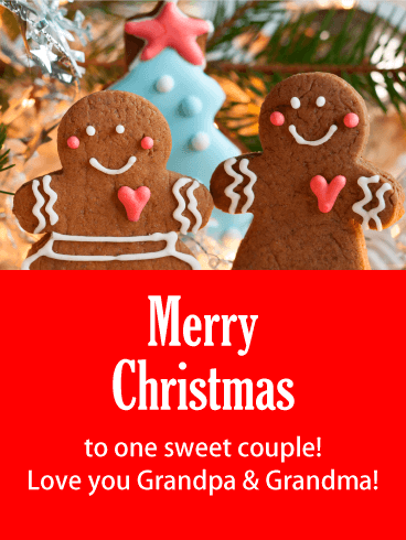 Sweet Gingerbread Couple - Merry Christmas Card for Grandpa and Grandma