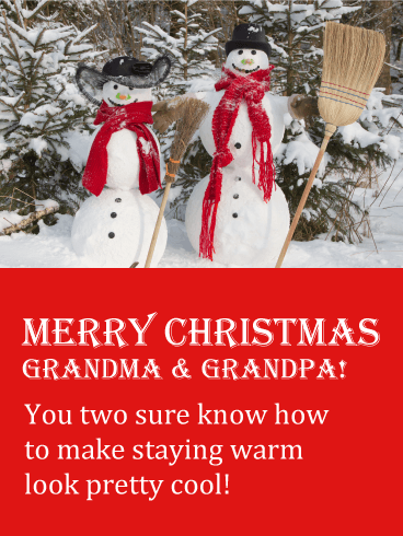 Smiling Snow-Grandma & Snow-Grandpa Merry Christmas Card