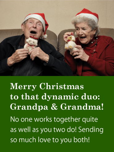 Merry Christmas Card for Dynamic Duo a.k.a. Grandpa & Grandma